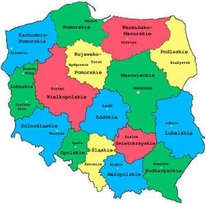 نقشه استان های لهستان