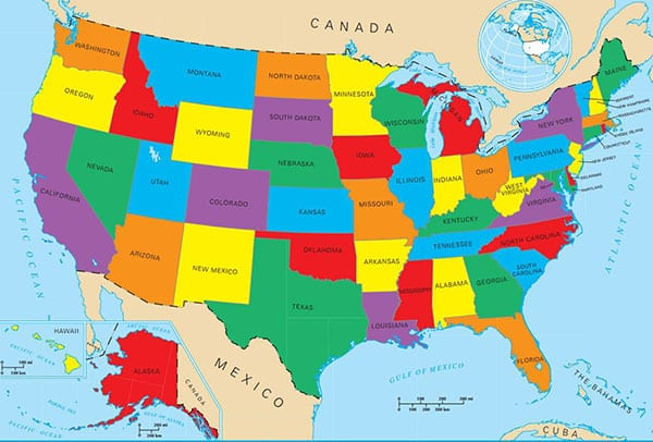 نقشه آمریکا